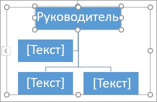 Ввод текста в поле графического элемента SmartArt