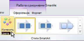 Изменение цвета рисунка SmartArt.