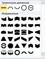 Параметры изменения формы объектов WordArt в Publisher 2010