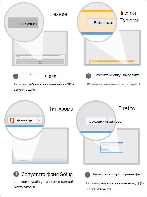 """Снимок экрана параметров браузера: в Internet Explorer нажмите кнопку """"Выполнить"""", в Chrome— кнопку """"Настройка"""", в Firefox— кнопку """"Сохранить файл"""""""