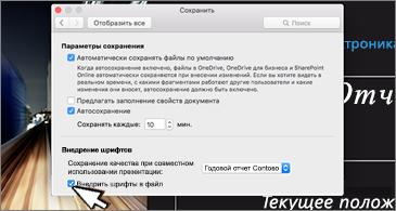 Диалоговое окно сохранения с параметрами внедрения шрифтов