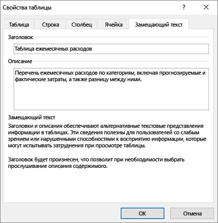 """Снимок экрана: вкладка """"Замещающий текст"""" диалогового окна """"Свойства таблицы"""""""