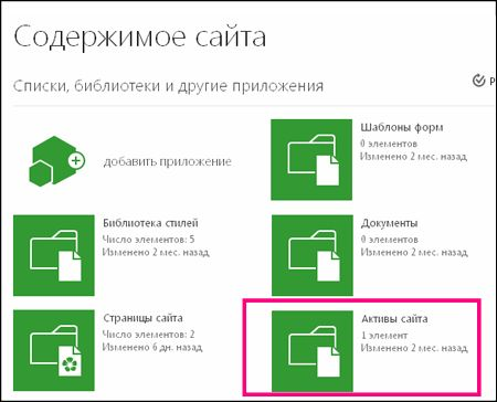"""Страница """"Контент сайта"""" для простого сайта в SharePoint Online с выделенной плиткой """"Активы сайта"""""""