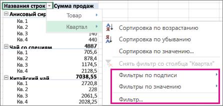 Параметры фильтрации для данных сводной таблицы