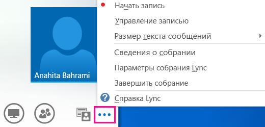 Снимок экрана: дополнительные параметры собрания Lync