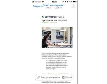 Предварительный просмотр документа Word и кнопки, доступные для открытия в Word или отправки документа по электронной почте