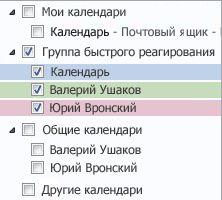 Группа календарей в области навигации