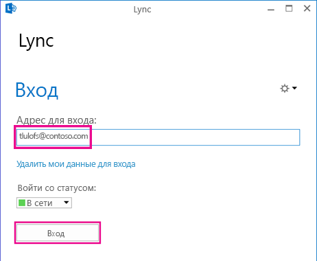 Раздел окна входа в Lync с выделенным полем удаления данных для входа