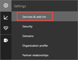 "Выберите раздел ""Службы и надстройки"" в Office365"