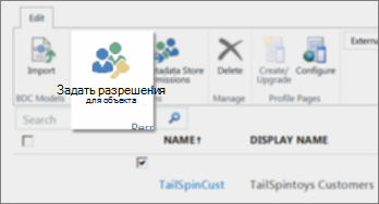 """Снимок экрана центра администрирования SharePoint Online с открытым разделом служб BCS. На ленте показана кнопка """"Задать разрешения для объекта""""."""