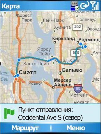 Карта с маршрутом Сиэтл — Редмонд