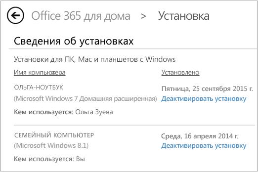 Страница установки с именем компьютера и именем пользователя, установившего Office.