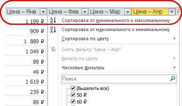 Автофильтры в заголовках столбцов таблицы Excel