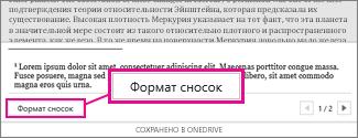"""Кнопка """"Формат сносок"""" в области редактирования сносок Word Online"""