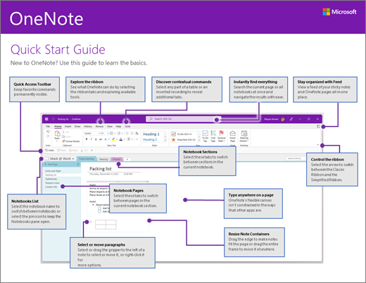 Краткое руководство по началу работы с OneNote2016 (Windows)