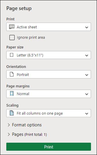 Экран настройки печати
