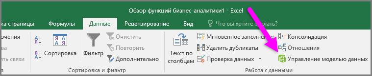 """Команда управления моделью данных на вкладке """"Данные"""" ленты"""
