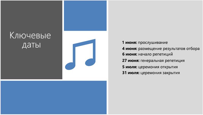 Образец слайда с текстовой временной шкалой, к которой конструктор PowerPoint добавил рисунок и элементы оформления