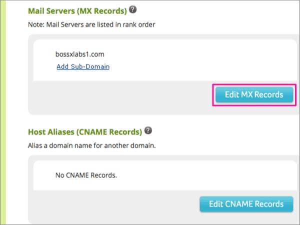 Нажмите кнопку Изменить записи MX