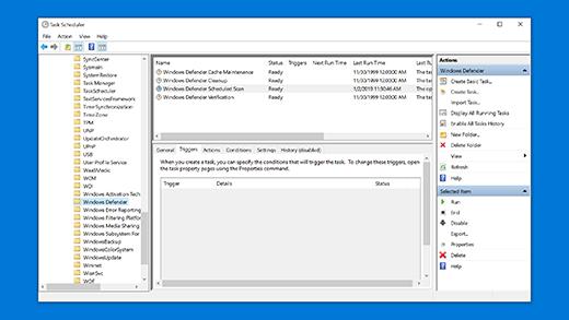 """Планирование сканирования с помощью приложения """"Безопасность Windows"""" в планировщике заданий"""