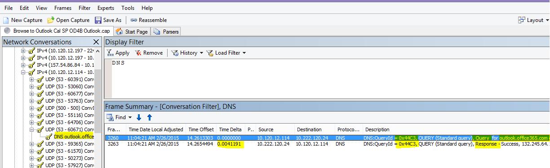 """Сетевой монитор: трассировка загрузки OutlookOnline, отфильтрованной по DNS с использованием фильтра """"Поиск бесед"""", а затем— по DNS, чтобы ограничить количество результатов."""
