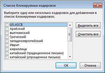 Диалоговое окно «Список блокируемых кодировок»