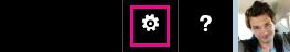 """Выберите """"Параметры"""" в заголовке Office365"""