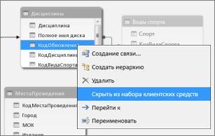 Скрытие столбца в PowerPivot
