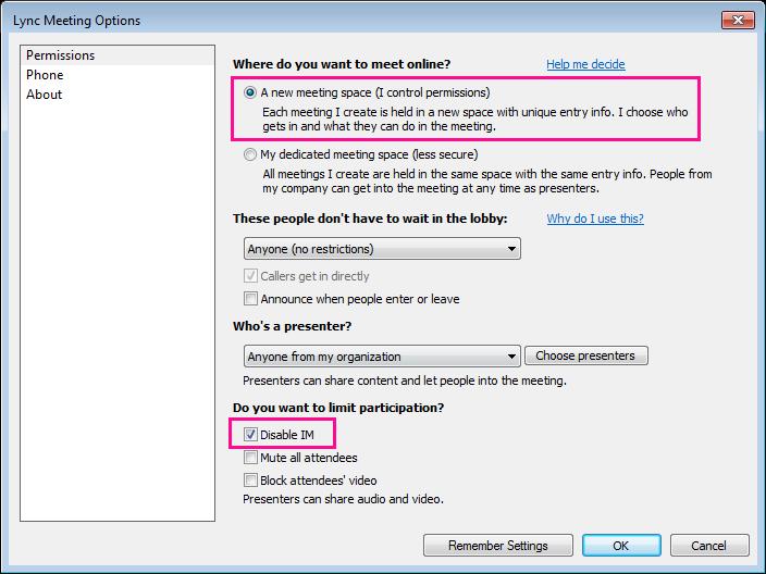 Снимок экрана: отключение мгновенных сообщений в окне параметров собраний Lync