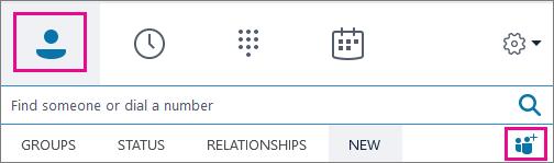 """Выберите """"Контакты"""" и значок """"Добавить контакты""""."""