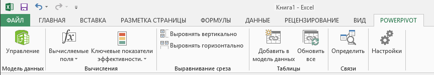 Вкладка PowerPivot на ленте