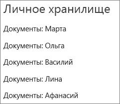 Список ссылок на папки пользователей в OneDrive