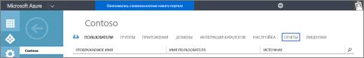 """Снимок экрана: страница организации Contoso. Выделен пункт """"Отчеты""""."""