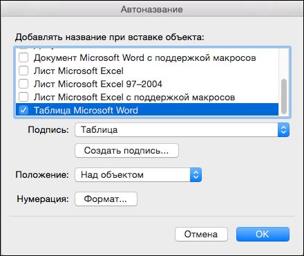 Автоматическое добавление подписей к новой таблицы и другие объекты, которые можно вставлять