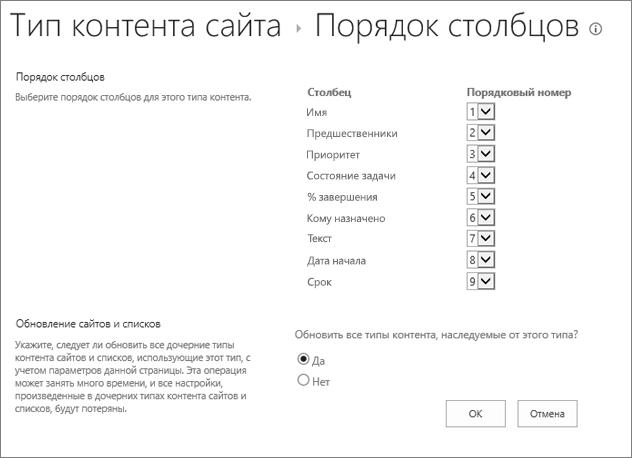 Страницы порядок столбцов типа контента