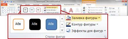 Вкладка «Формат» на ленте PowerPoint 2010.