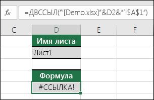 Пример ошибки #ССЫЛКА! из-за использования функции ДВССЫЛ для ссылки на закрытую книгу.