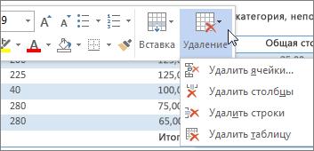 """Мини-панель инструментов с меню """"Удаление"""""""