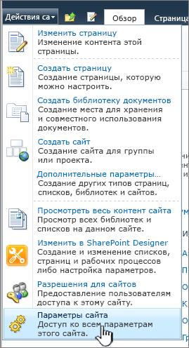 """Параметры сайта в меню """"Действия сайта"""""""