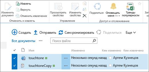 Раздел редактирования на ленте при наличии двух выделенных элементов в списке