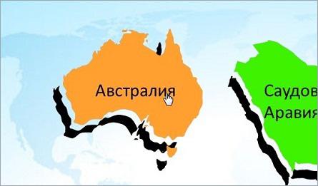 карта австралии с указателем мыши в форме руки с указательным пальцем