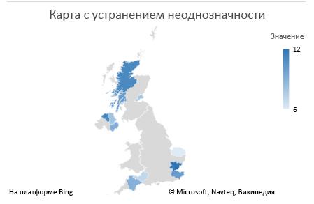 Диаграмма Excel с картой: диаграмма с однозначными данными
