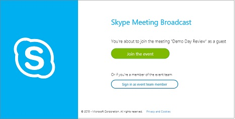 Страница входа на событие SkypeCast для анонимного собрания