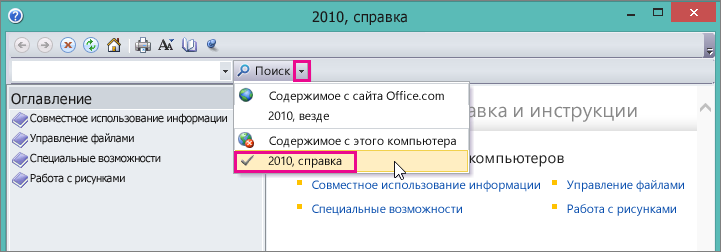 Picture Manager help window, showing the 2010 Help option