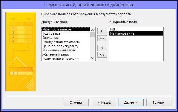 Выберите поля, которые должны отображаться в результатах запроса, в диалоговом окне мастера поиска записей без подчиненных