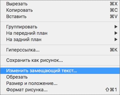 """Опция """"Изменить замещающий текст"""" в контекстном меню в PowerPoint для Mac"""