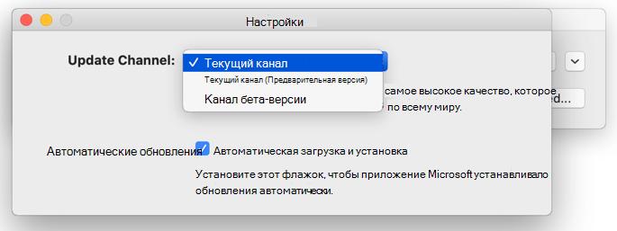 """Изображение окна """"Автоматическое обновление Майкрософт"""" для Mac -> окно """"Параметры"""" для Mac с вариантами обновлений канала."""