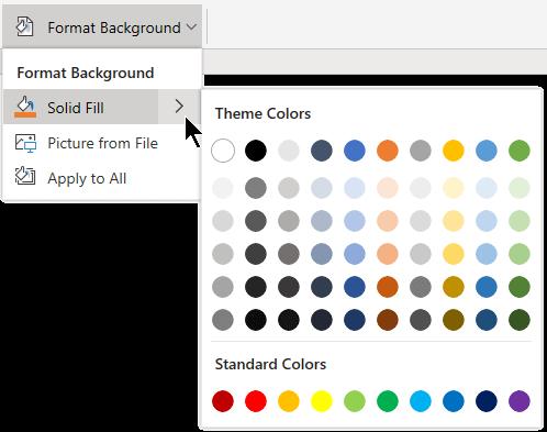 Форматирование фона с применением цвета.