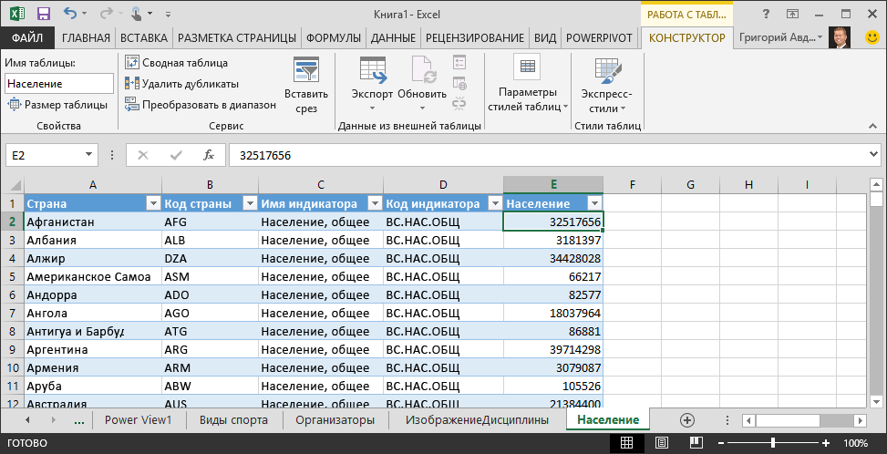 Данные о численности населения в Excel