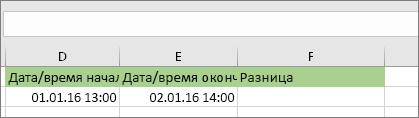 Начальная дата 01.01.16 13:00; конечная дата 02.01.16 14:00